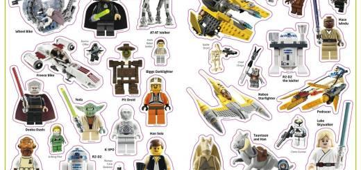 Une des planches de stickers de l'album Lego Star Wars - Les Héros