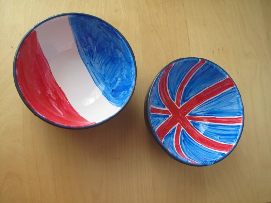 French-English handpainted bowls
