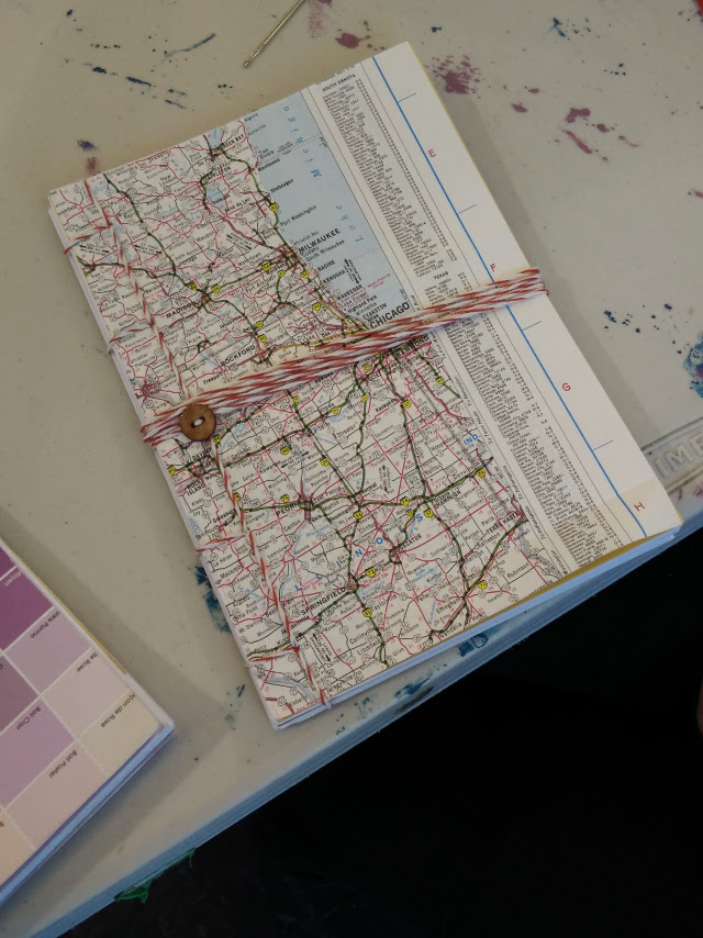 Notebook made with recycled map