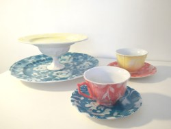 Lace spray painted china