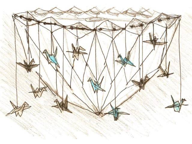 L'idée finale pour l'abat-jour en origami avec des grues