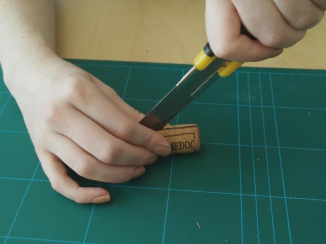 Slicing the corks in half