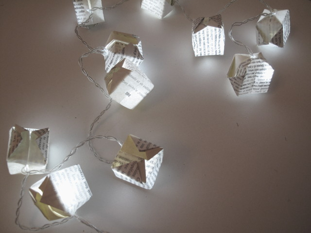 Recycled Christmas fairy lights with recycled paper