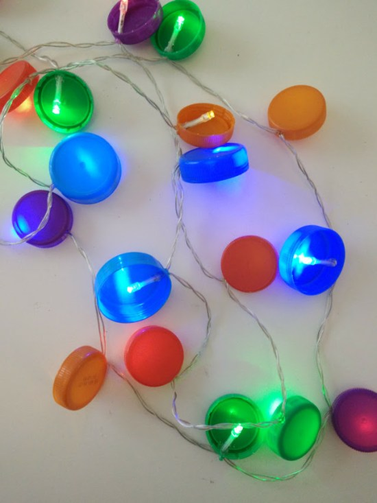 Recycled Christmas fairy lights with plastic bottle tops
