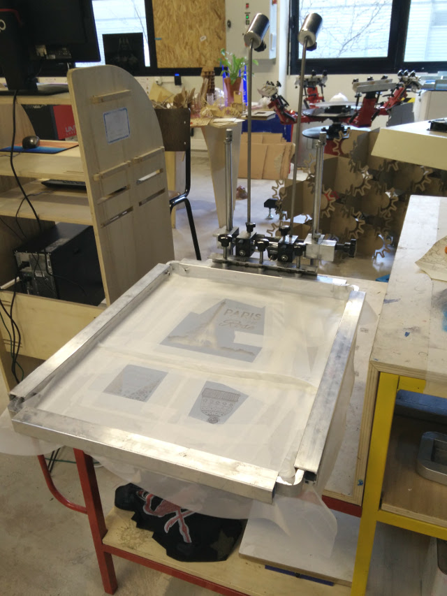 The screen ready for printing