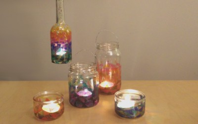 Recycled glass lanterns