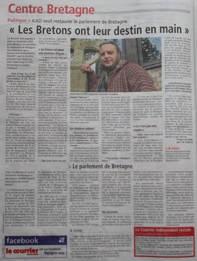 article KAD le courrier indépendant