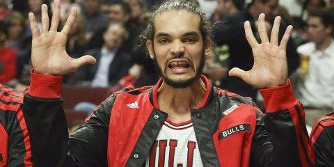 Nov. 18, 2013 - Chicago, IL, USA - Joakim Noah (13) of the Chicago Bulls makes a face on the bench during the first half against the Charlotte Bobcats at the United Center in Chicago on Monday, Nov. 18, 2013. (Credit Image: © Nuccio Dinuzzo/MCT/ZUMAPRESS.com)