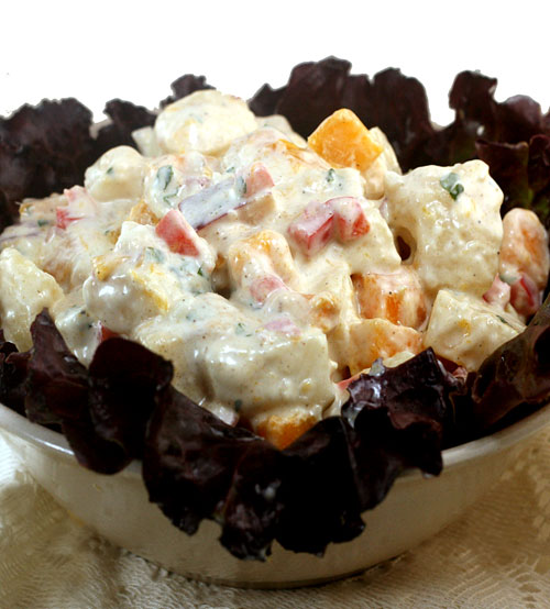 Low-Fat Greek Yogurt Potato Salad, loaded with all kinds of good stuff.