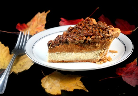 Cheesecake Pumpkin Pecan Pie aka Chumpcan Pie! -Three Pies in One! A Cheesecake layer, a pumpkin pie layer and a pecan pie layer! The ultimate Thanksgiving pie!