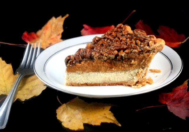 Cheesecake Pumpkin Pecan Pie aka Chumpcan Pie! -Three Pies in One! A Cheesecake layer, a pumpkin pie layer and a pecan pie layer! The ultimate Thanksgiving pie!