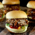 Pulled Honey Sesame Chicken Sliders with Rainbow Slaw for SRC