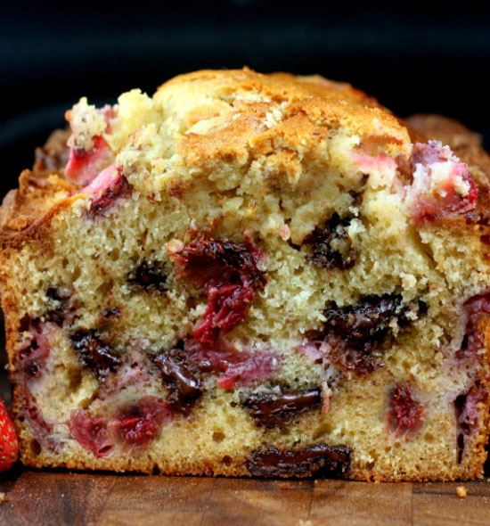 Strawberry Malted Chocolate Chunk Yogurt Cake Loaf