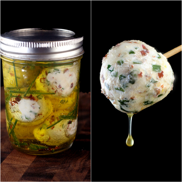 Marinated Fresh Garlic-Herb Cheese Balls