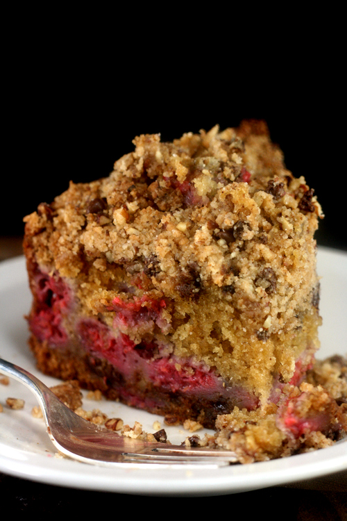Brown Butter Raspberry Pecan Chocolate Chip Streusel Cake