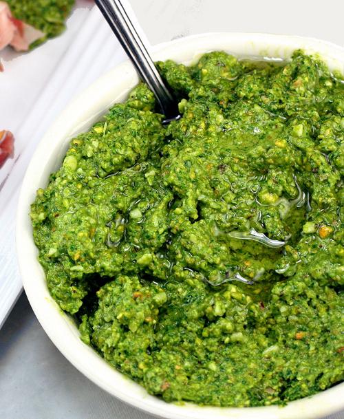 Garlicky Broccoli Kale Arugula Pesto
