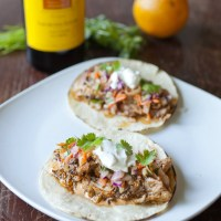 Cuban Pulled Pork Tacos with Red Cabbage and Jicama Slaw and Chipotle Mayo