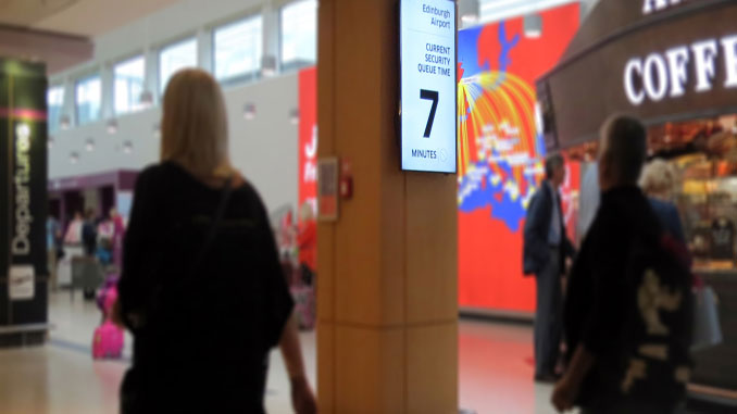 Edinburgh Airport displays live wait times for passengers