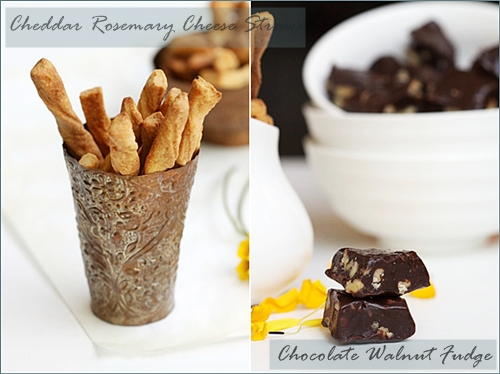 Cheese Straws, Chocolate Walnut Fudge
