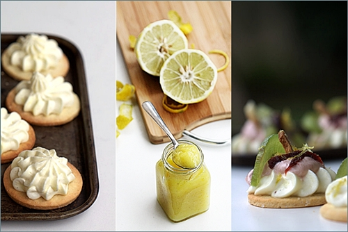 Petit Fours...cookies with whipped lemon curd cream