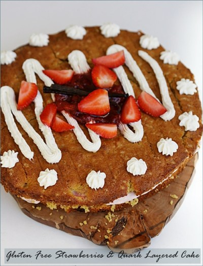 Gluten Free Strawberries & Quark Layered Cake