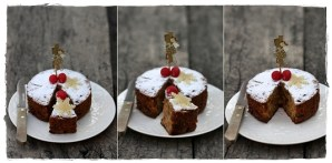 Christmas Fruit Cake with homemade marzipan toppings