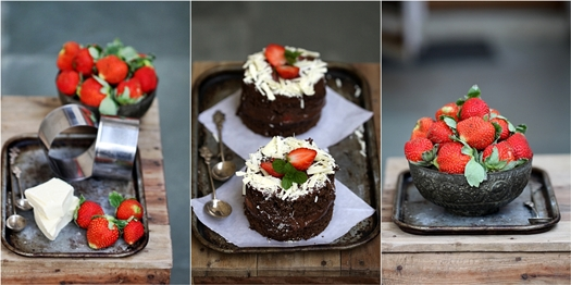 Dark Chocolate & Strawberry Mini Cloud Gateaus