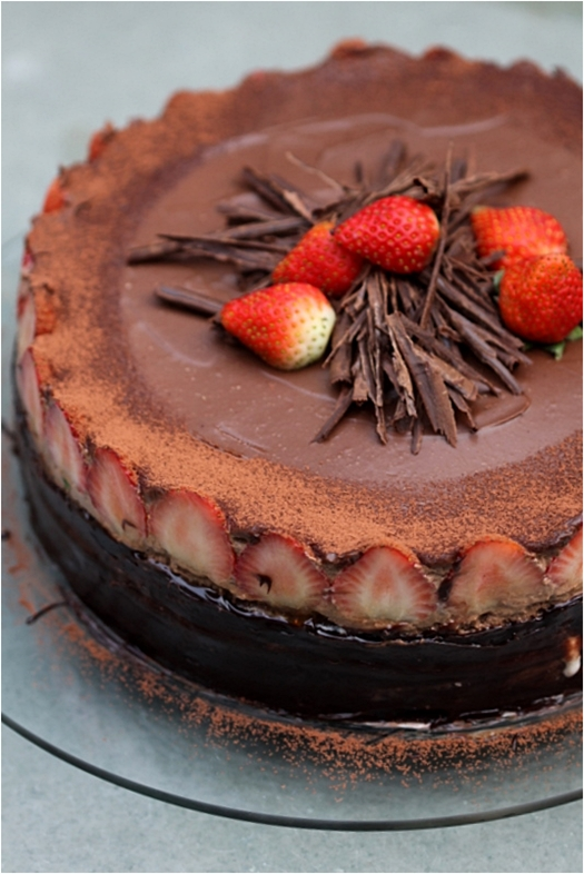 Chocolate Bavarian Mousse Strawberry Cake
