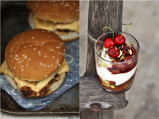 KFC Style Burgers {low fat} & Quark & Cherry Verrines