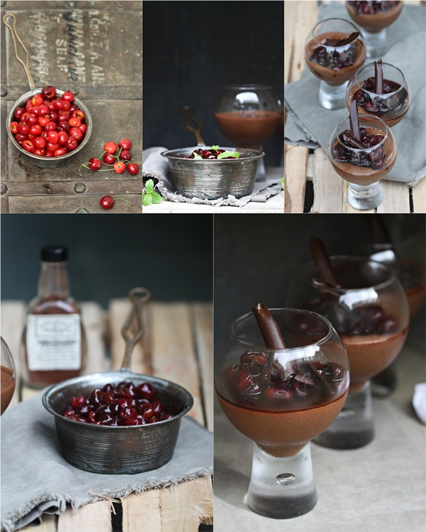 Dark Chocolate Mousse with Balsamic Cherry Sauce