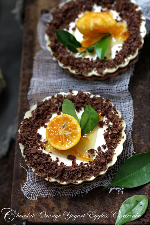 Chocolate Orange Yogurt Eggless Cheesecake