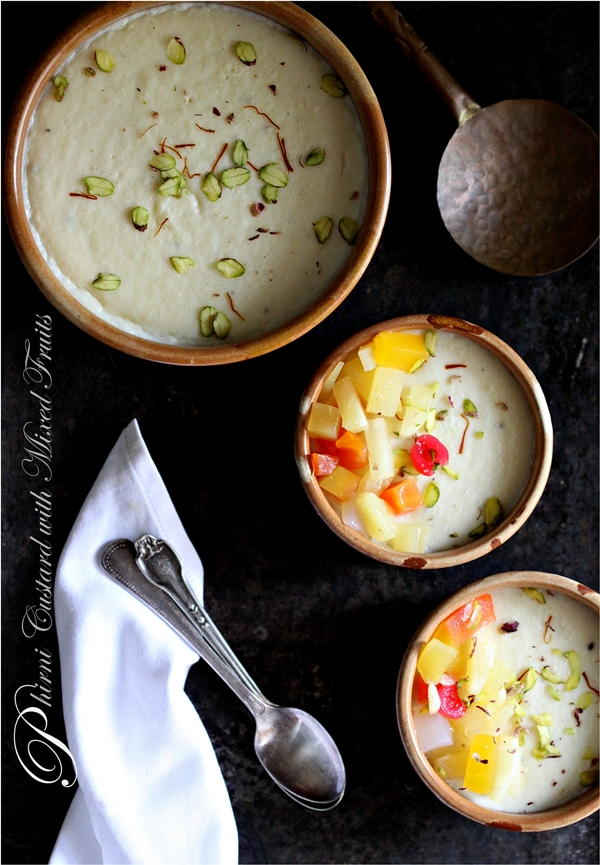 Phirni Custard with Mixed Fruits