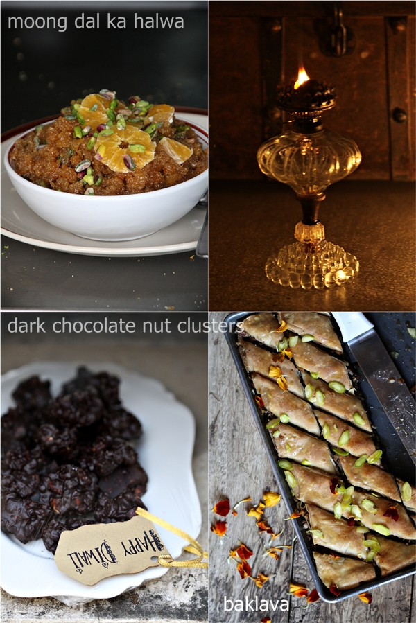 Baklava, dark chocolate nut clusters, moong dal ka halwa 1