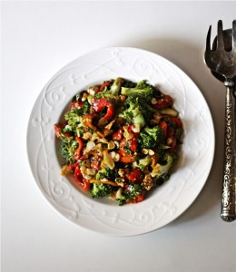 Roasted Red Bell Pepper & Broccoli Salad, Vicky Goes Veg
