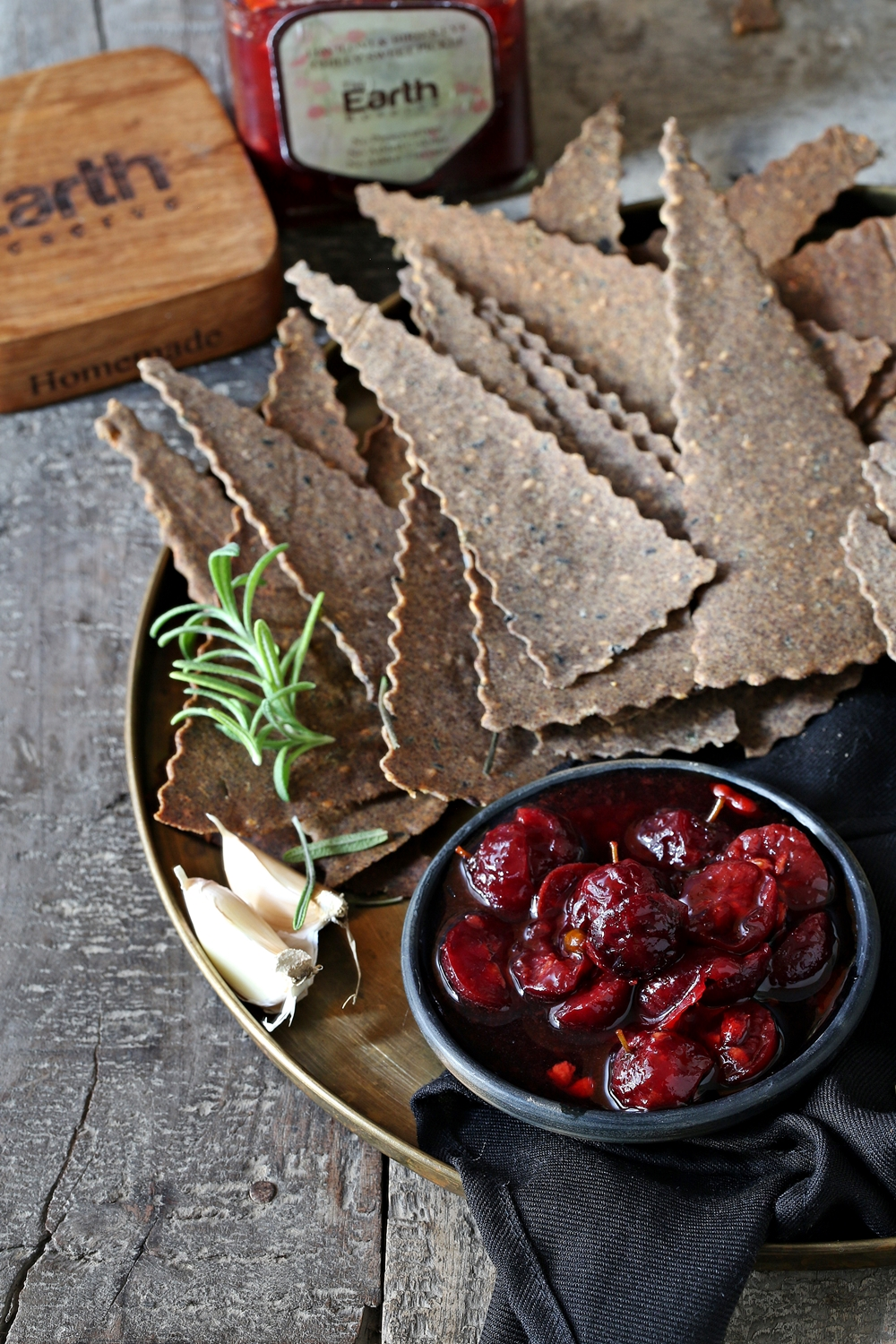 Rosemary Garlic Sesame Millet Crackers with Lovilovi and Bird's Eye Sweet Chili Pickle