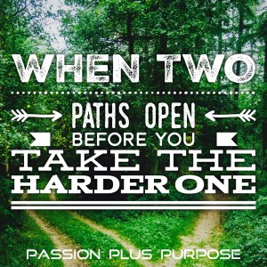 PassionPlusPurpose - When two paths open before you, take the harder one