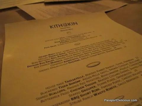 Kith & Kin Menu