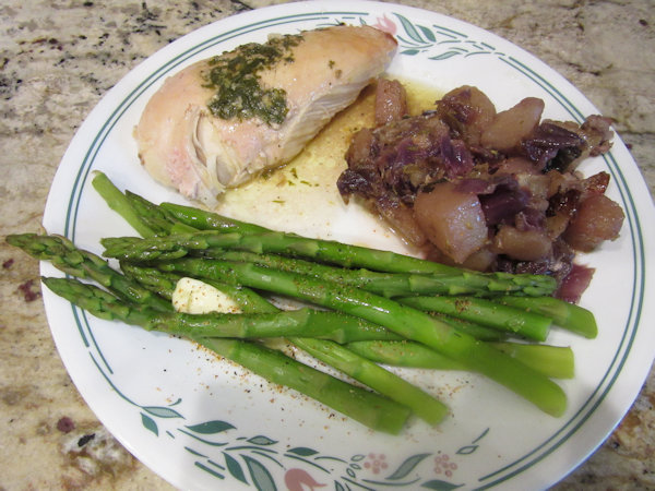 Roasted Chicken, Potatoes & Cabbage and Steamed Asparagus