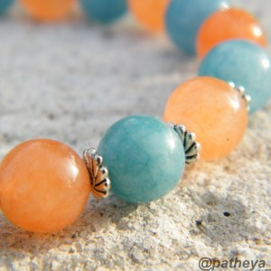 Blue aventurine and peach agate