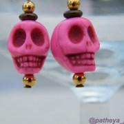 Close up of howlite skulls