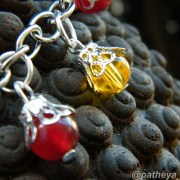 topaz and red agate beads