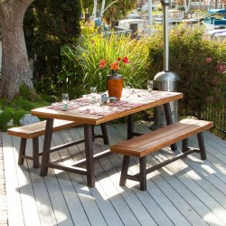 Bowman Wood Picnic Table Set With Detached Benches