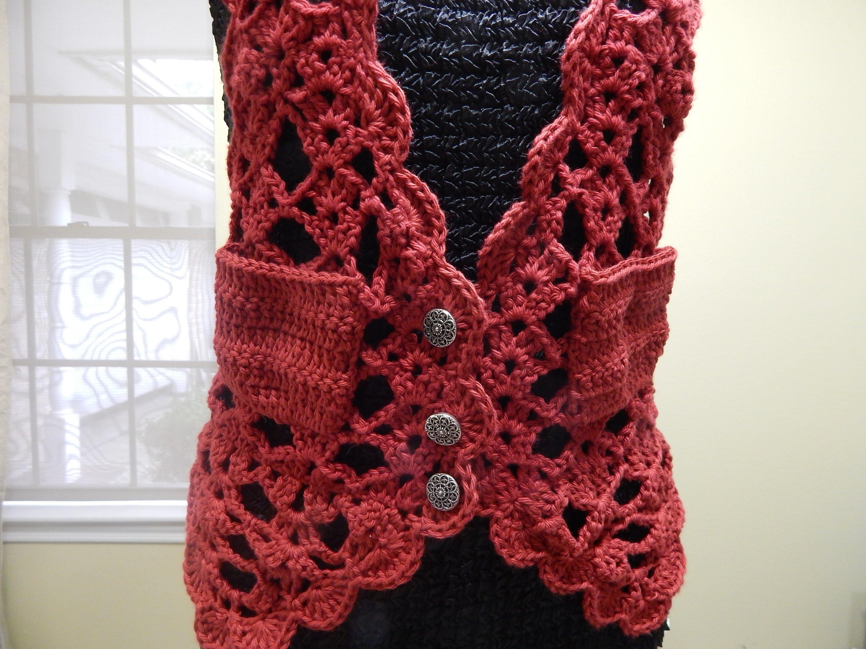 Patrones crochet manualidades y reciclado chaleco rojo a - Manualidades a crochet paso a paso ...