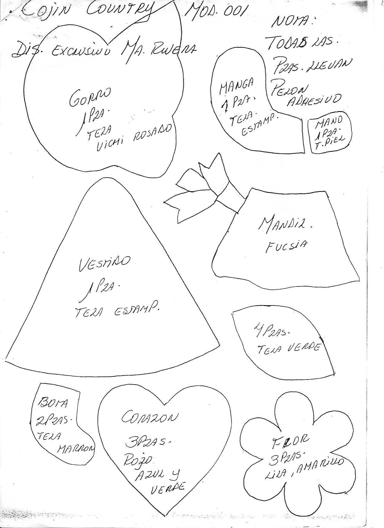 Cojin niña country patchwork | PatronesMil