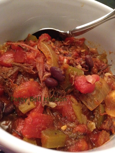 Home grown tomatoes, garlic and peppers enhance the flavors of pork chili.