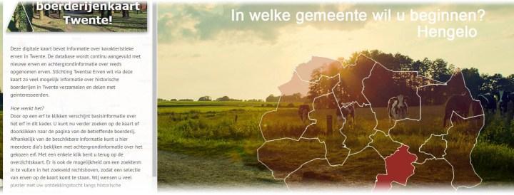 Snapshot van de Buurtenkaart. Links is een tekstvlak met de welkomsttekst, rechts zijn in het rood alle gemeentes van Twente te zien met als achtergrondfoto het Twentse landschap met een paar nieuwsgierige koeien.