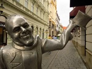 Statues dot Bratislava's historic center...