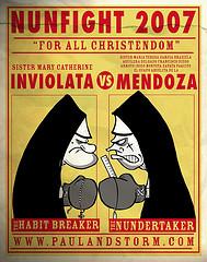 Nun Fight (art by Len Peralta)