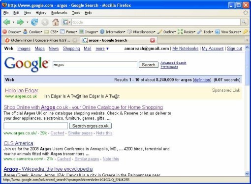 Google search for Argos