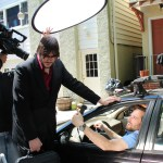 "On set at ""Carpool"" shoot, a 2012 Tropfest submission"
